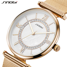 SINOBI Women's Watches Stainless Steel Mesh Belt Golden Fashion Wristwatch With Rhinestone Quartz Female Clock Bracelet Reloje