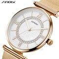 Sinobi relógios das mulheres cinto de malha de aço inoxidável pulseira de ouro da moda relógio de pulso com strass relógio de quartzo feminino reloje