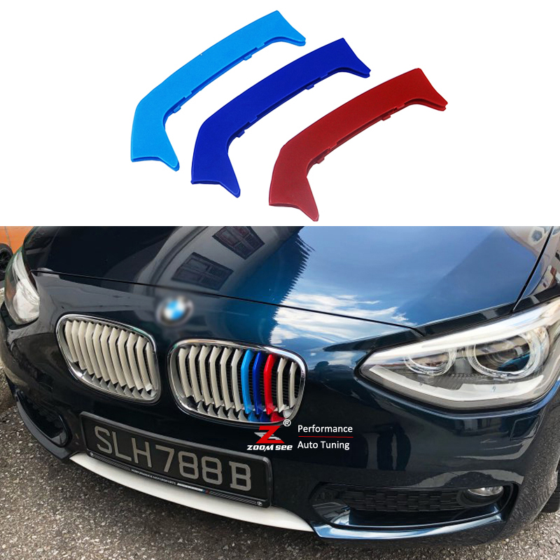 11 Grille for BMW 5 Series 2004-2010 M-Colored Front Grille Insert Trims Grill Stripes Stickers Center Kidney Grill Cover Performance Stickers 3Pcs