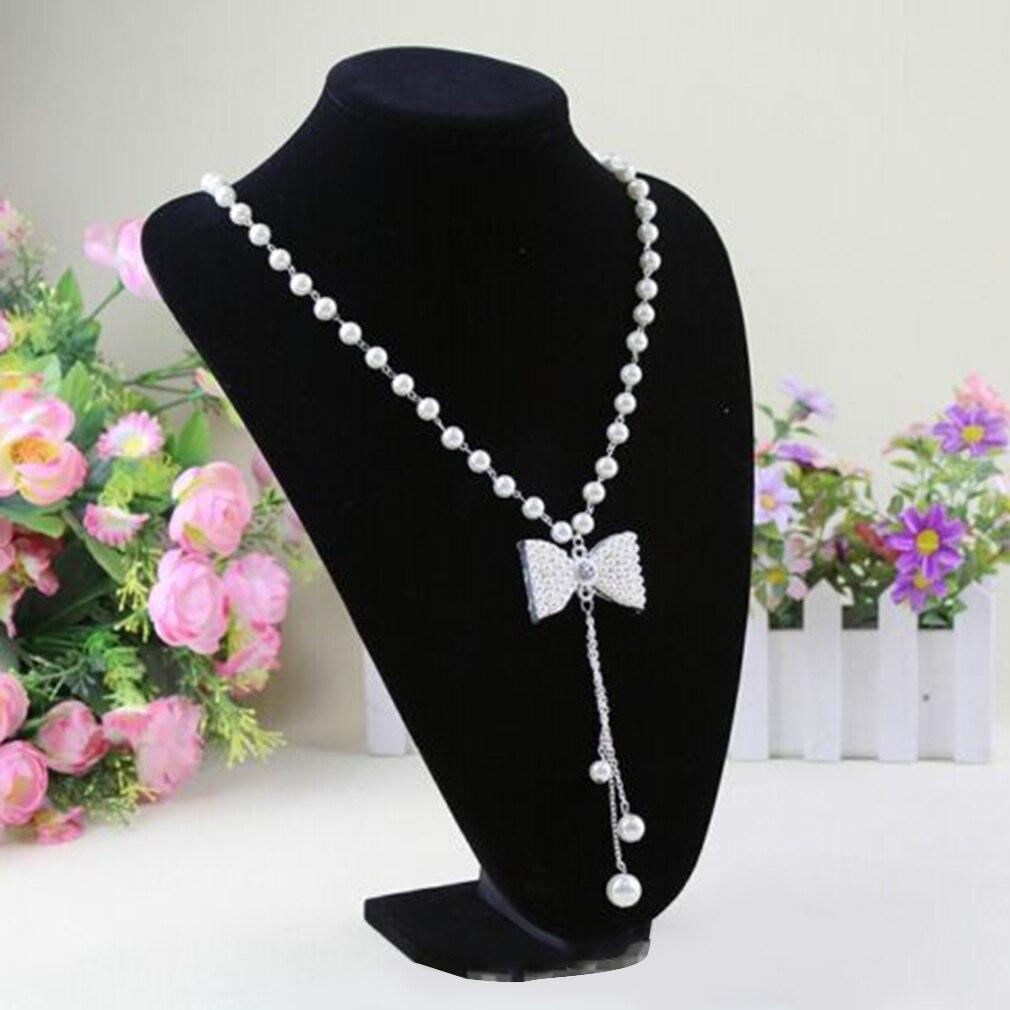 GENBOLI Necklace Bracelet Pendant Display Stand Rack Black Velvet Jewelry Showing Holder Mannequin Choker Organizer Showcase