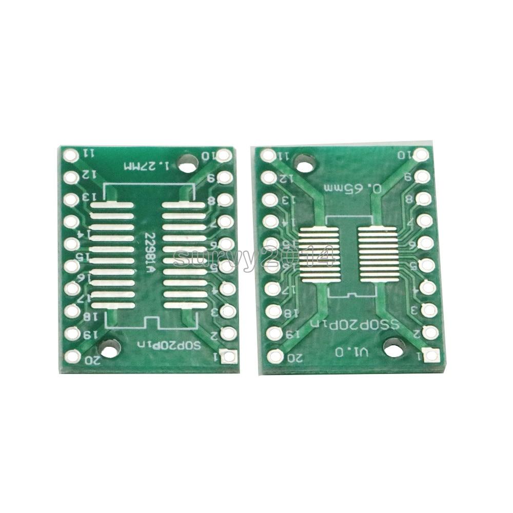 10pcs SOP20 SSOP20 TSSOP20 To DIP20 Pitch 0.65/1.27mm IC Adapter PCB Board10pcs SOP20 SSOP20 TSSOP20 To DIP20 Pitch 0.65/1.27mm IC Adapter PCB Board
