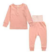 2017 Children Pajamas Suit Spring Autumn Long sleeve Cotton Pajama Boy Girl Care Belly Suit Solid Color Home Clothing Sleepwears