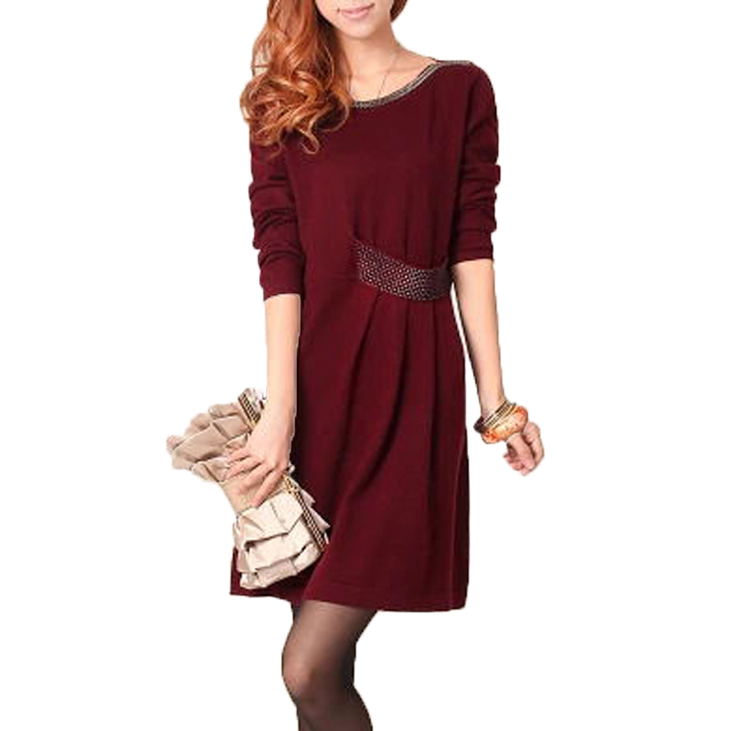 Autumn Winter Cashmere Sweater Dress for Women 2018 Female Casual Long Sleeve Beading O-neck Wool Dress Plus Size Woman Clothes