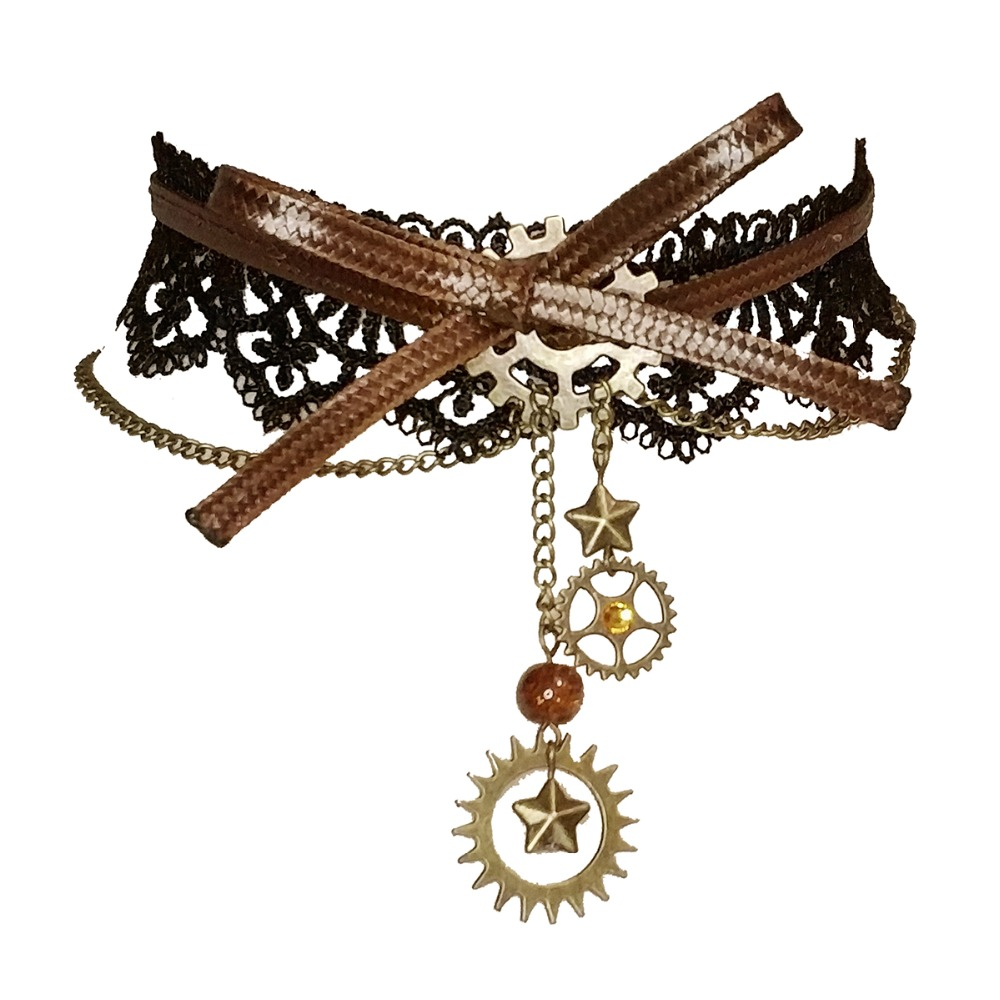 Collier ras du cou en dentelle noire avec pendentif Steampunk pour femme
