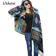 2017, Новая мода бахромой в этническом геометрический Для женщин Batwing накидка пончо трикотажный топ кардиган свитер пальто хип шарф шаль Бесплатная доставка