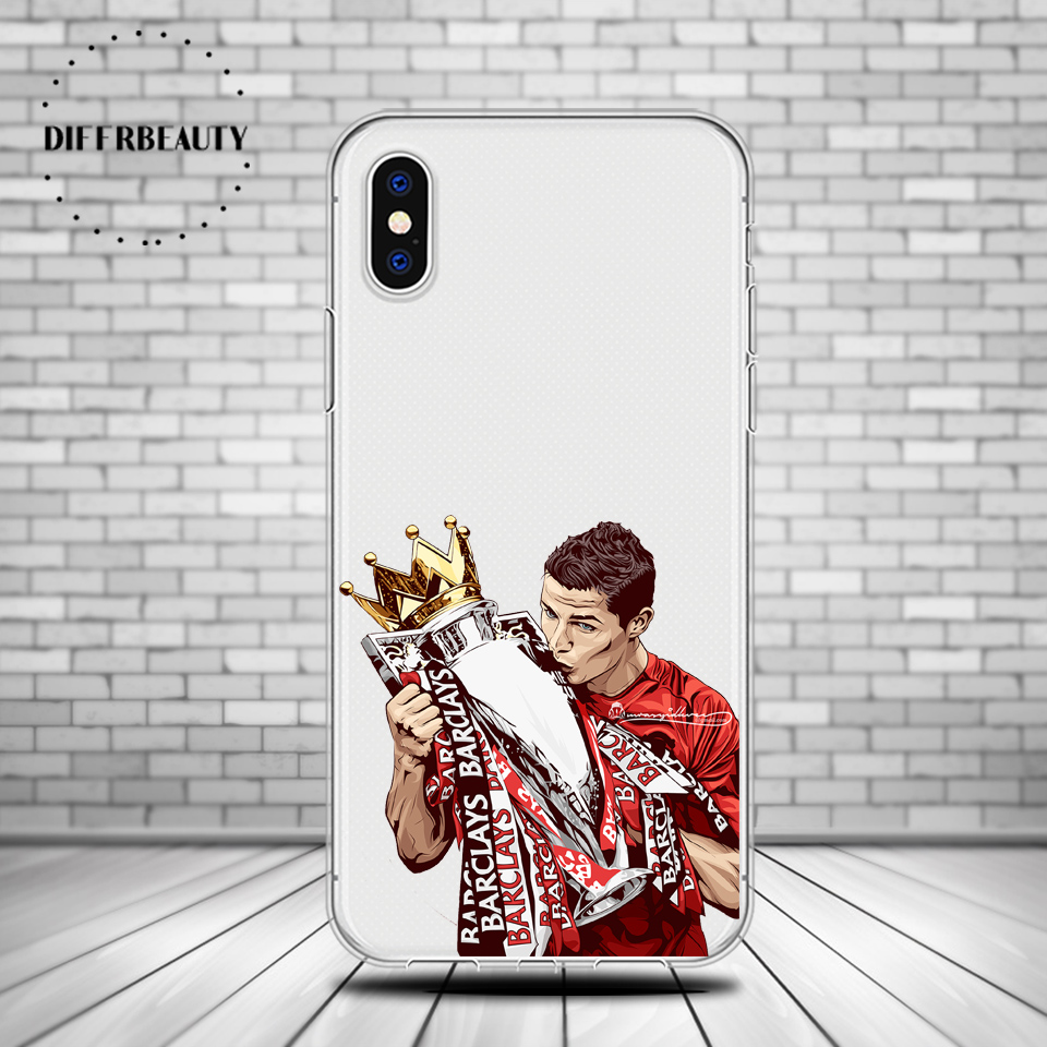 DIFFRBEAUTY Soft Phone Case Cover For iphone 6 6S 7 7Plus 5S Coque Sport Famous Football Soccer Star Cristiano Ronaldo pogba
