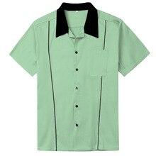 Camisas dos homens Plus Size Roupas Rockabilly Retro Camisas Hortelã  Ocasional Verde Castanho Cinzento(China 69d4af9cf2d4