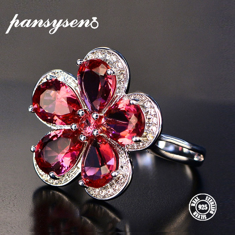 PANSYSEN Luxury Flower Red Spinel Rings For Women 100% Real Silver 925 Jewelry Wedding Party Fashion Gemstone Ring Wholesale