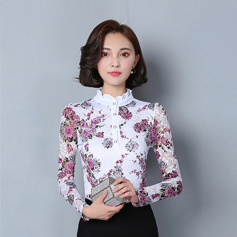 Fashion autumn bottoming printed long sleeve hollow lace blouse Elegant korean women tops and blouses Plus size ladies tops 4XL