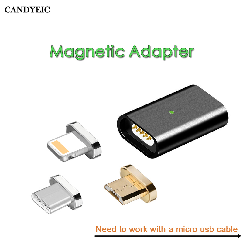 CANDYEIC Быстрая зарядка Магнитный адаптер для Android IPhone Type C Micro USB 2,0 устройство к Micro USB кабель Магнитный адаптер