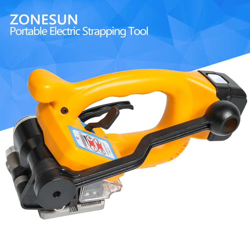 ZONESUN Battery strapping tools hand held PP PET strapping machine plastic belt packaging width 12-19mm best quality xqd 19 hand held pneumatic combination plastic strapping welding machine welded packing tool for pet strap13 19mm