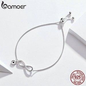 Image 5 - BAMOER Trendy 925 ayar gümüş parlak CZ Infinity bilezikler kadınlar için moda bilezik takı yapımı hediye SCB087