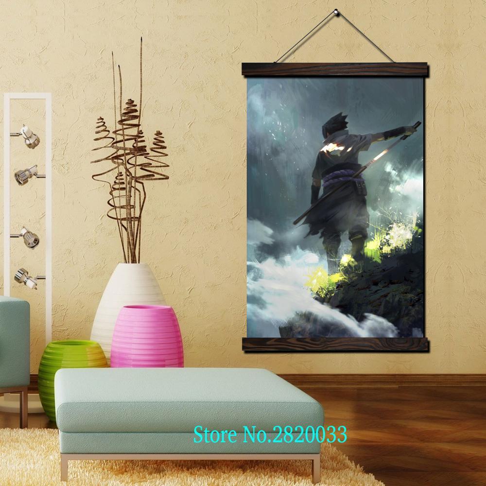 Naruto Sasuke Uchiha Framed Scroll Painting HD Wall Art Hanging ...