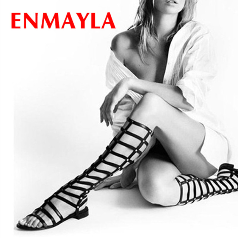 ENAMYLA Summer Knee High Boots Women Flats Gladiator Sandals Women Black Leather Motorcycle Boots Women Flats Shoes Woman  handmade high quality 2017 summer new knee high boots gladiator women sandals boot real leather flats casual shoes black size 41