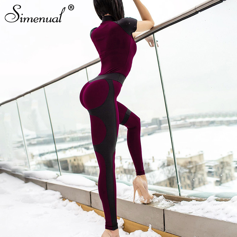 Simenual Push Up Sporty Fitness Bodysuit Women Active Wear Casual Rompers Zipper Patchwork Short Sleeve   Jumpsuits   2019 Summer