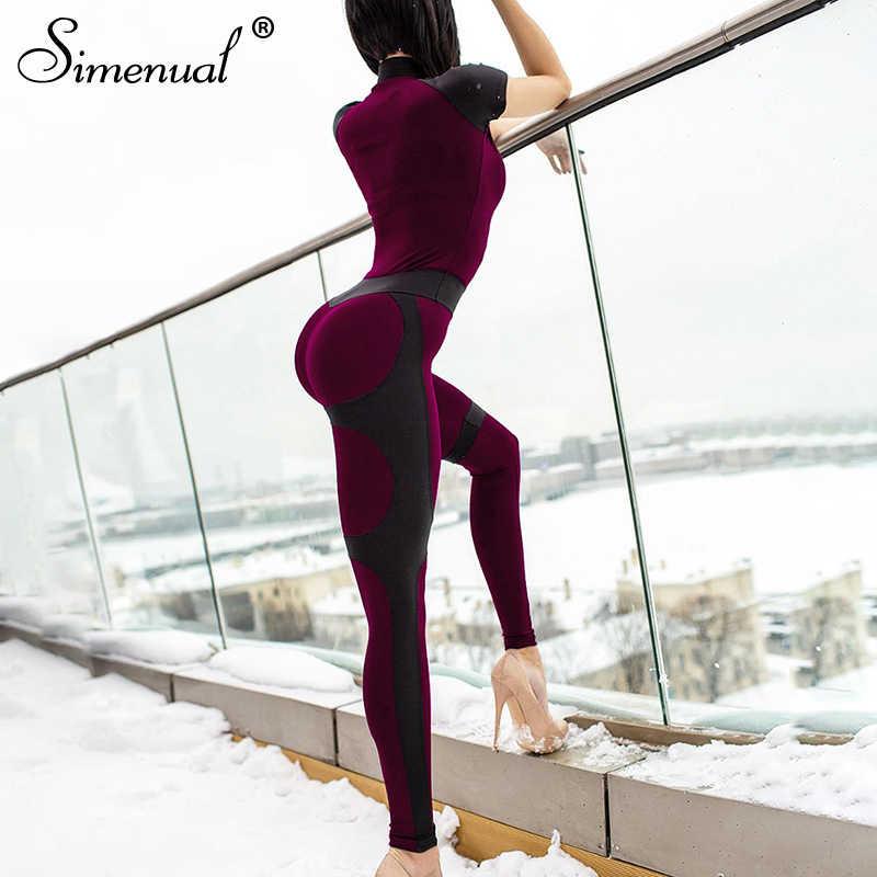 Simenular Push Up deportivo bodi fitness mujeres activa ropa Casual mamelucos cremallera Patchwork manga corta monos 2019 verano
