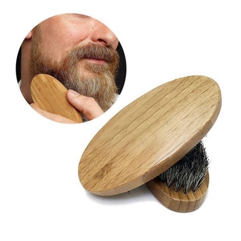 Men's Natural Boar Bristle Beard Mustache Brush Military Round Wood Comb