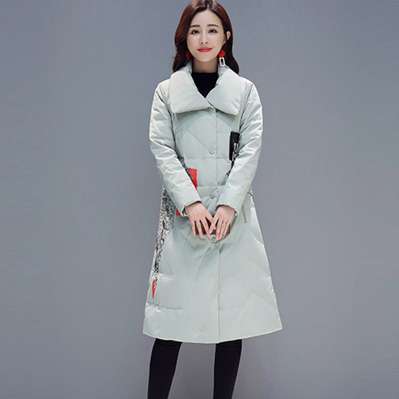 2018 Winter 90% White Duck   Down   Jackets Women Long Slim Warm   Down     Coats   Overcoats Fashion Printted Casual   Down     Coat   FP1608