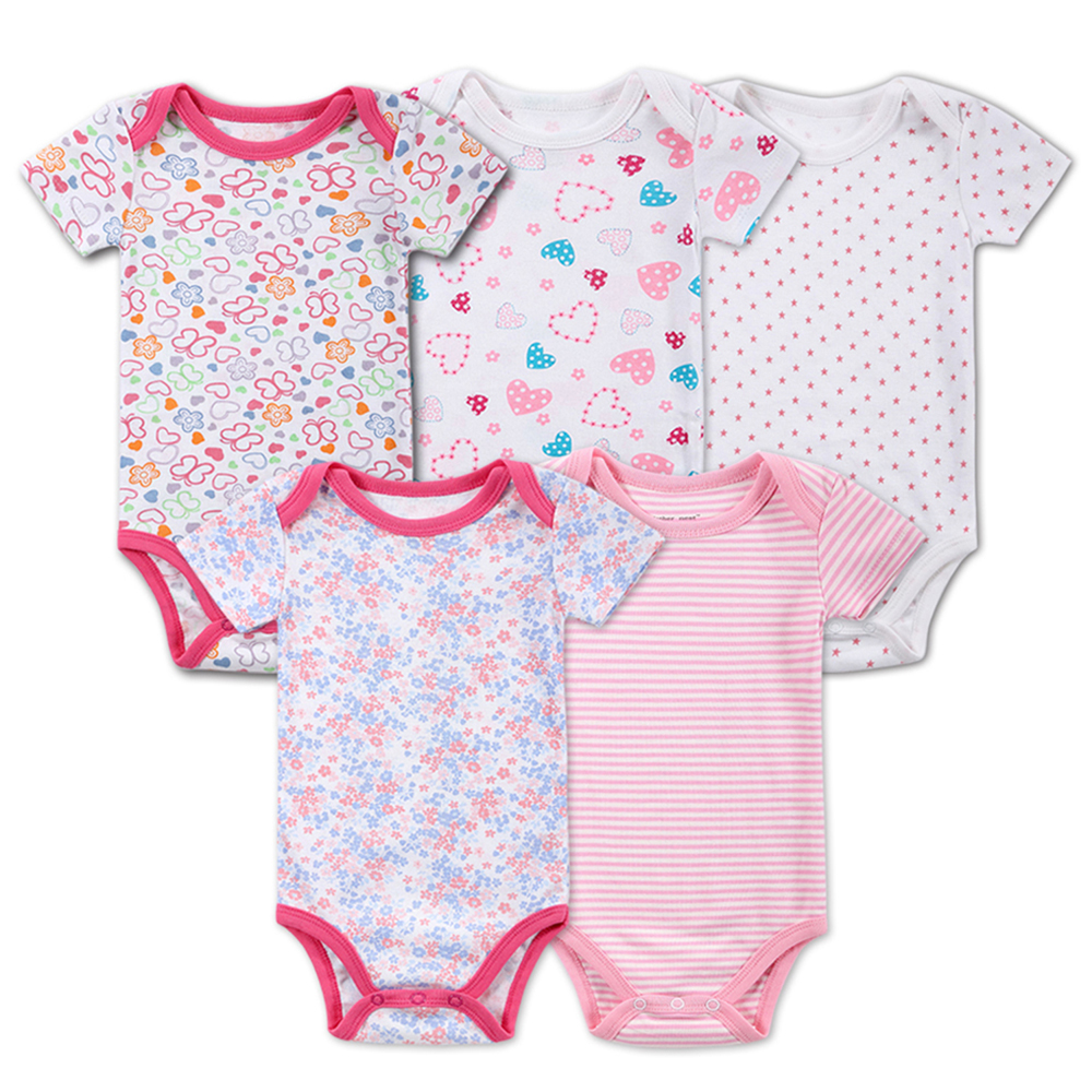 2017 Top Quality 100% Cotton Soft 5 pieces/lot Baby Romper Pure Cotton Short Sleeve O-Neck Baby Boy & Girl Fashion Baby Clothes stylish short sleeve scoop neck self tie romper for women