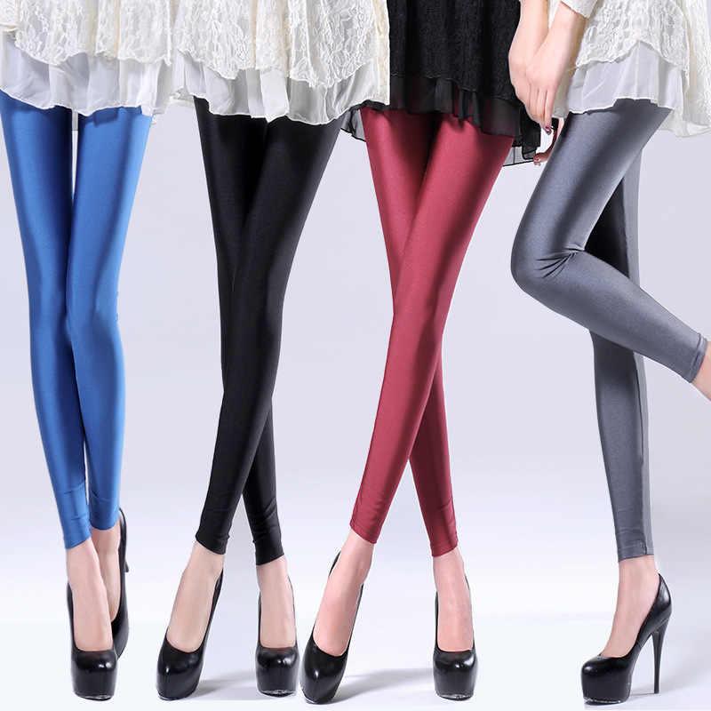 Venda quente 2019 Mulheres Cor Sólida Fluorescente Brilhante Pant Leggings Grande Tamanho Spandex Shinny Elasticidade Calças Casual Para A Menina