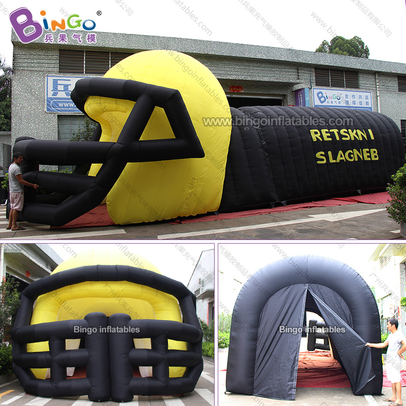 Well-Educated Personalized 11x5x4.5 Meters Yellow Black Inflatable Football Helmet Tunnel / Inflatable Helmet Tunnel Toy Tents Latest Technology