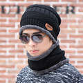 Ski Set Men Hat Windproof Winter Lic Outdoor Knitted Thermal Thick Snow Woolen Cap Male Scarf Collar Wrap New Year Father Gfit