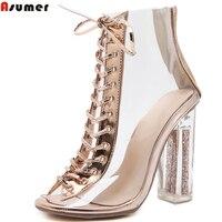 Asumerヌードカラージッパーレディース春秋のレディース靴のぞき見つま先ジップクロスネクタイエレガントな女性ハイヒールアンクルブー