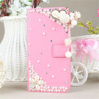 New Fashion Bling Diamond Holster Flip Leather back cover skin PU Leather cell phone case For Huawei P9 plus 5.5 inch