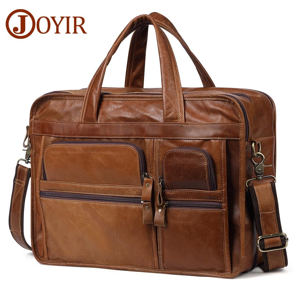 JOYIR Men s Briefcases Genuine Leather 15 6 Laptop Office Handbag Male Business Messenger Bag Men
