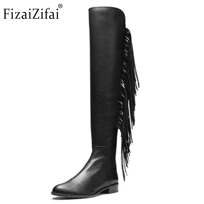 Size 33-46 Women Winter Boots Over Knee High Tassel Sexy Square Heels Real Genuine Leather Boot Shoes Woman Botas women real genuine leather high heel ankle boots sexy botas autumn winter warm boot woman heels footwear shoes r8077 size 33 40