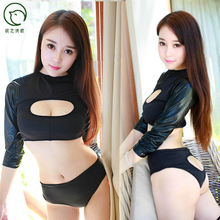 Sexy Faux Leather Splice Hollow Out Bodysuit Short T-shirt Club Dance Wear Sexy Lingerie Short Top+Hollow G-string Sexy Bikini
