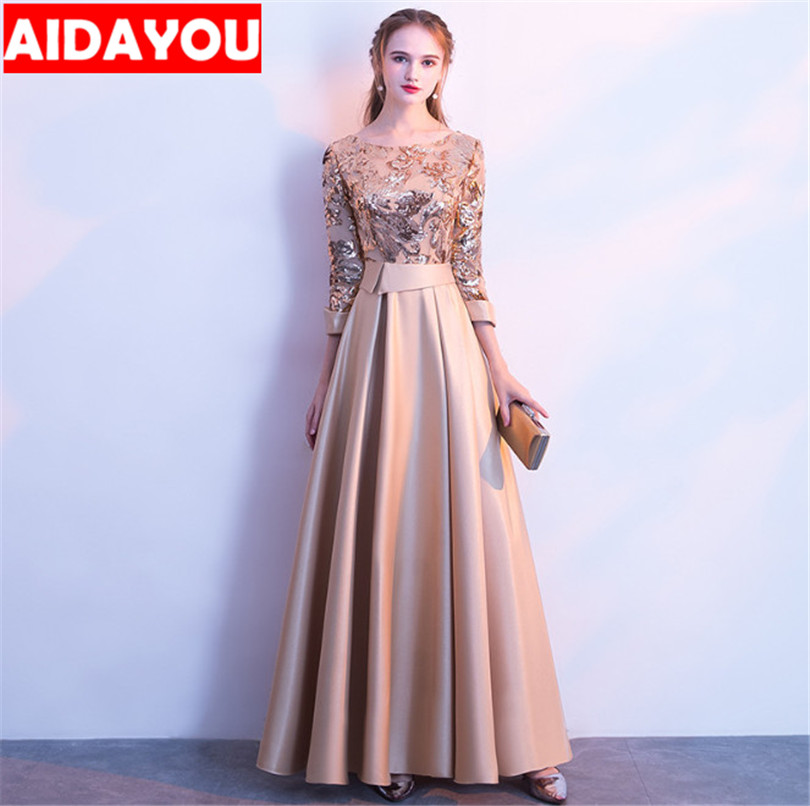 Banquet dresses for women formal Plus Size Long sleeve short Gold Red  Formal Dress Evening Gown cermonial robe attire wed056