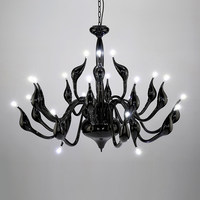 Art Deco European Candle Crystal LED Swan Chandeliers Ceiling Bedroom Living Room Modern Decoration G4 Lighting