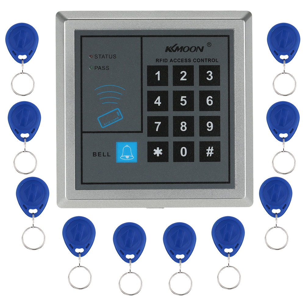 KKmoon RFID Door Lock Access Control System Home Security RFID Proximity Entry Door Lock With 10 pieces RFID Key Fobs rfid standalone access control keypad 125khz card reader door lock with 10 proximity key fobs for door security system k2000
