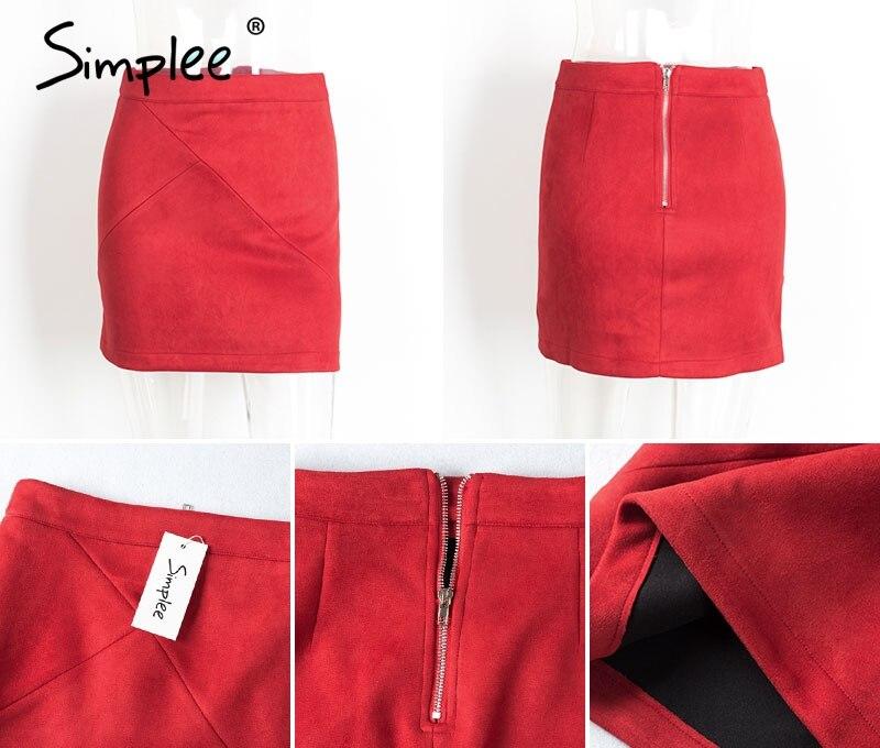 Simplee Autumn vintage leather suede pencil skirt winter 18 Cross high waist skirt Zipper split bodycon short skirts women 15