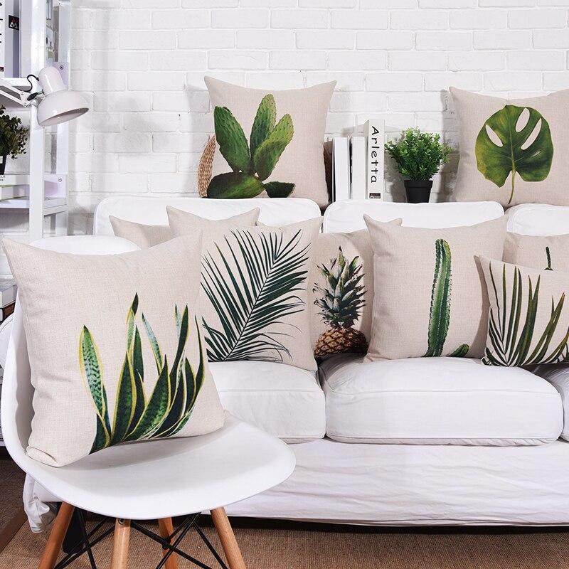 Wholesales Cushion Cover Natural Plant Cactus Monstera Ceriman pillow case Throw decorative cushion covers 45cm*45cm/60*60cm