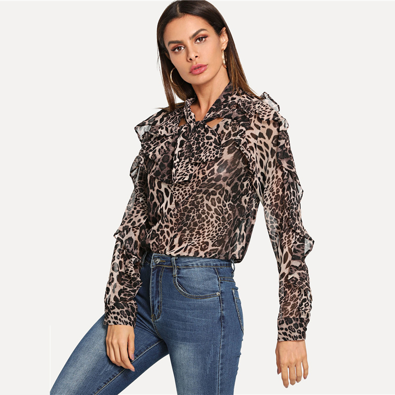 COLROVIE Leopard Elegant Ruffle Trim Knot Women Blouse Shirt 2018 Autumn Streetwear Fashion Ladies Tops And Work Blouses 7