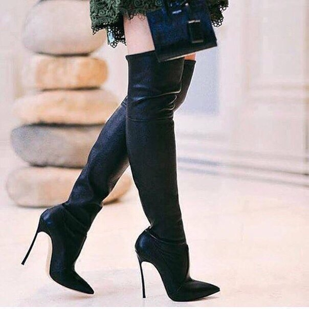 d92583669 Black Suede Pointed Toe High Heel Boots Sexy Thigh High Boots Woman thin  heels over the knee boots stretch fabric boots
