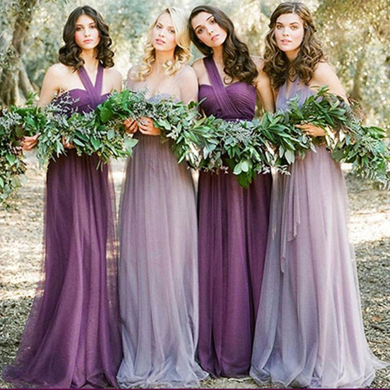 Tulle Convertible Bridesmaid Dresses 2020 Lavender Purple Long Dress For Wedding Party Vestido Madrinha Abiti Damigelle