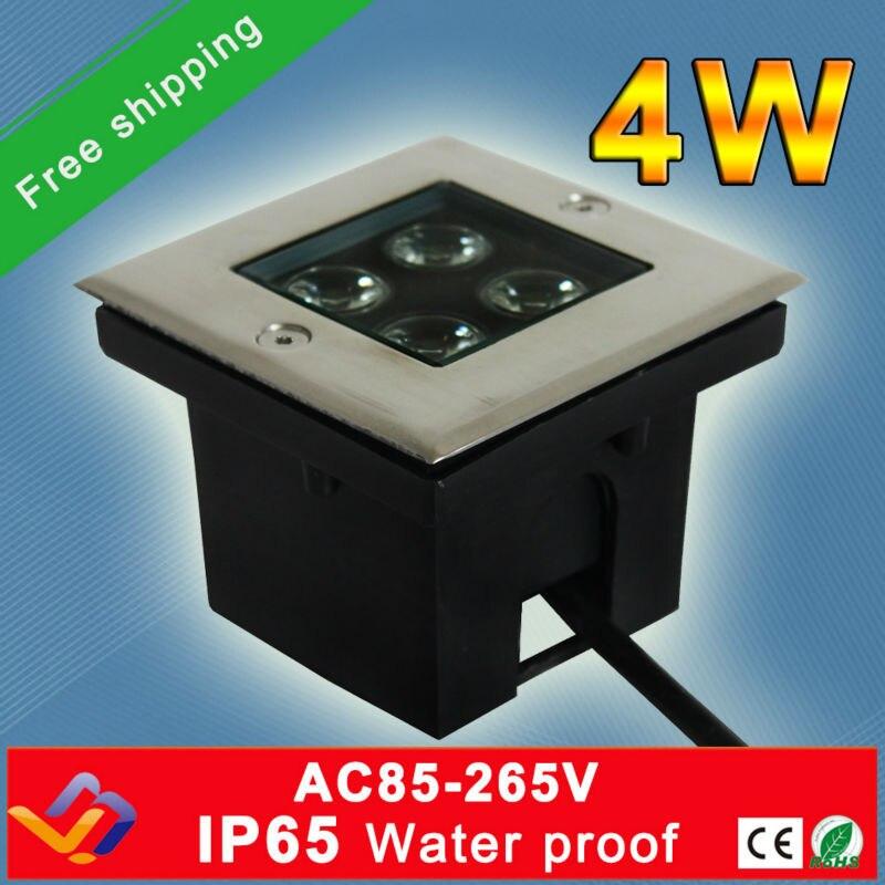 Transport falas!!! 10 copë / shumë 4w Sheshi udhëhequr nga drita nëntokësore AC85-265V Cool / Bar i ngrohtë / skenë / dysheme kopshti ndriçimi i jashtëm