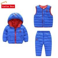Children Winter 3pcs Set Hoody Jacket Coat Vest + Pants Sets Boys Girls Kids Warm Clothes Waistcoat 2 6Years Down Outdoor Suit