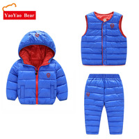 Children Winter 3pcs Set Hoody Jacket Coat Vest + Pants Sets Boys Girls Kids Warm Clothes Waistcoat 2 6Years Down Outdoor Suit