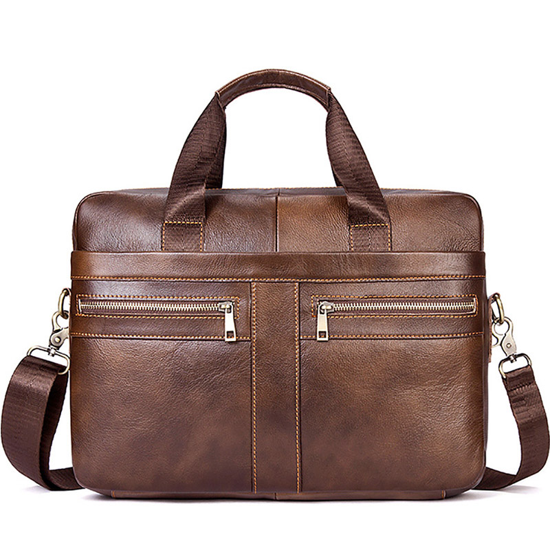 High Quality Bag Men's Leather Briefcase Male Laptop Bag For Men Messenger Bags Black Business With Handle Shoulder Bag XA193ZC