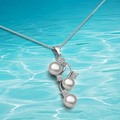 Fashion pearl necklace for women 925 pure silver pendant necklace jewelry 2014 new