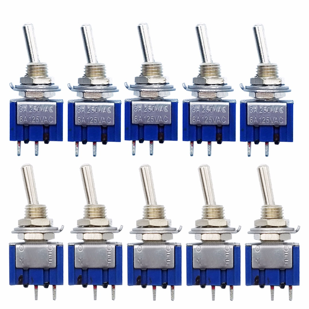 10pcs MTS-101 2 Pin SPST Switch ON-OFF 2 Position 6A 250V AC Mini Toggle Switches 33*13*8mm Mayitr Electrical Supplies