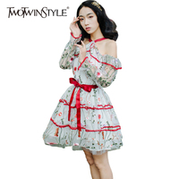 TWOTWINSTYLE Embroidery Tulle Mini Dress Women Summer Off Shoulder Tunic Dresses Female High Waist Sweets A