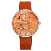 Disney Original Brand Girl Watches Black Band Leather Clocks Mickey Mouse Cartoon Head 30m Waterproof Quartz