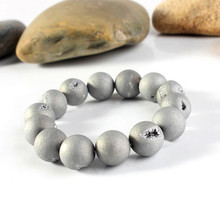 Silvery 8mm 10mm 12mm 14mm Smile Beads Bracelet.Crystal Agate Durzy  Bracelet .Natural Stone Druzy 5pcs/lot