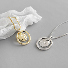 HFYK 925 Sterling Silver Necklace 2019 New Gold Irregular Surface Pendant Necklaces For Women collier femme joyas de plata 925 цена и фото