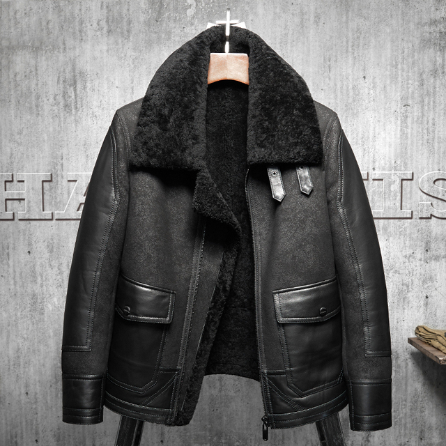 06d5d8d4667 2017 New Original Flying Jacket Black B3 Jacket Shearling Leather Jacket  Men s Fur Coat Aviation Leathercraft